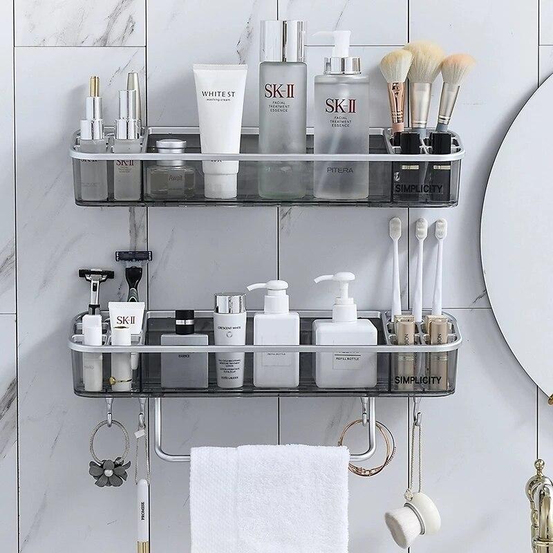 Punch-free Bathroom Shelf Shampoo Cosmetic Towel Storage Rack Organizer Bath Corner Holder Household Items Bathroom Accessories