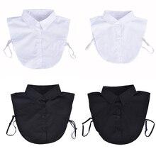 Black/White Ladies Women Adult Detachable Lapel Shirt Fake Collar Fashion Solid Color False Blouse N