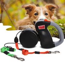 Roulette rétractable Double pour chiens   Colliers Pitbull, berger allemand Flexible, lueur dans la nuit, accessoires danimaux de compagnie pour chiots