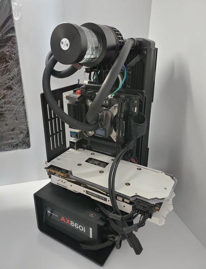 Mini-ITX سبائك الألومنيوم فتح كامل المياه المبردة الهيكل لتقوم بها بنفسك منصة الاختبار يدعم SFX ATX بطاقة جرافيكس الطاقة العمودي الرف