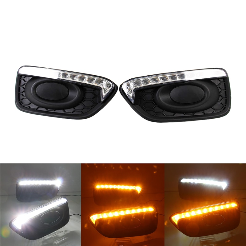 1 Pair Night Driving Lamp for Honda Brio 2016-2019 Car Turn Signal Daytime Running Light Fog Lamp LED Flash Warning Decor Light