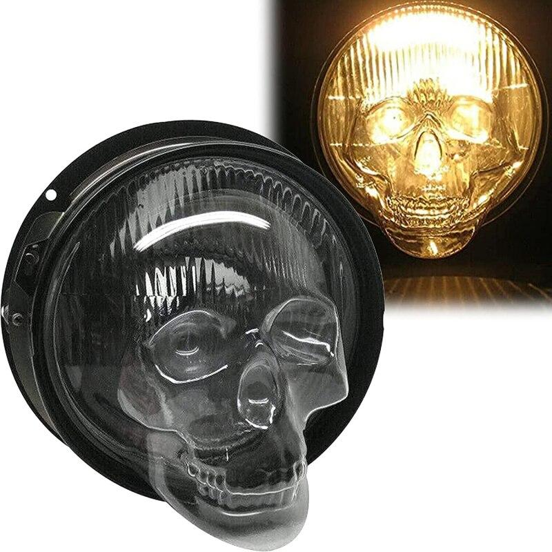 Car Headlight Cover Skull Head Lamp Hoods Halloween Accessories Universal Decorative Motorcycle Auto Front Fog Light Lamp Shade
