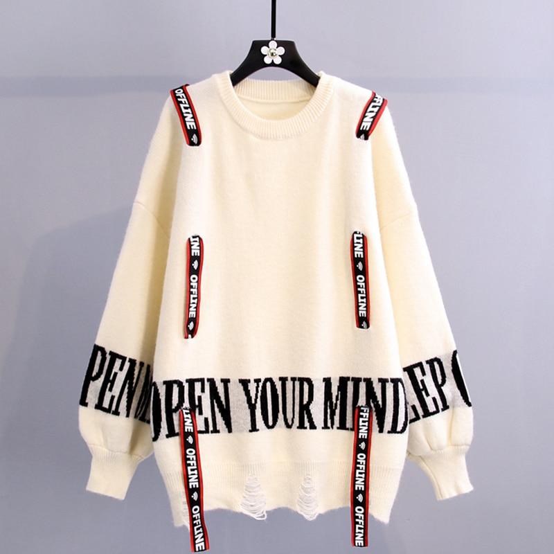 Women New Letter Print Hole Knit Jumper Sweater 2021 Drawstring Decoration Korean Pullover Tops casual knit Sweater Female drop shoulder open knit jumper