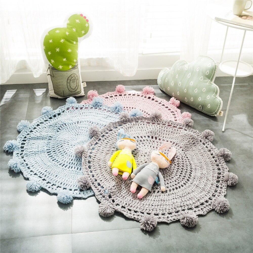 سجادة لعب ناعمة للأطفال ، سجادة أرضية دائرية منسوجة للصالة الرياضية ، على الطراز الاسكندنافي ، لغرفة الطفل ، ألعاب الأطفال
