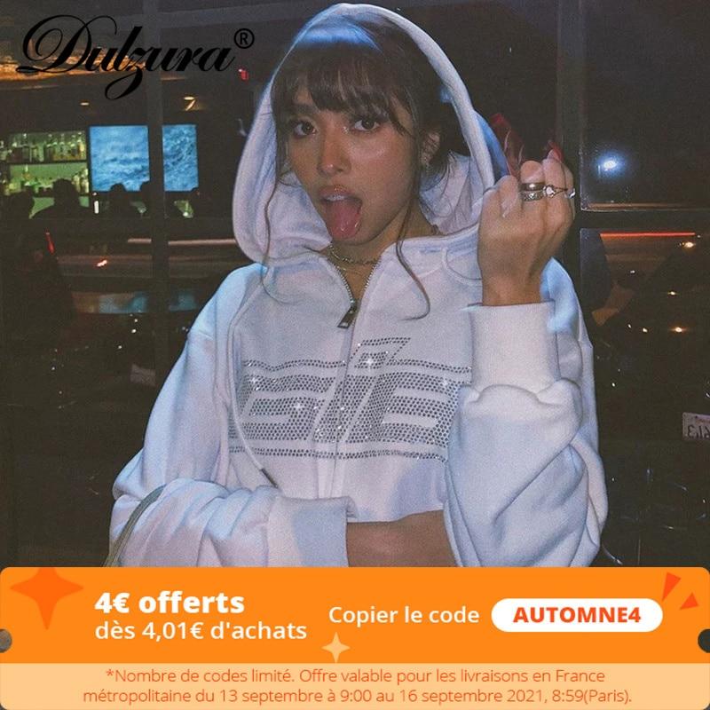 Dulzura Rhinestone Letter Print Women Long Sleeve Sweatshirt Hoodis Zipper Loose Oversized Streetwear Casual 2021 Autumn Winter