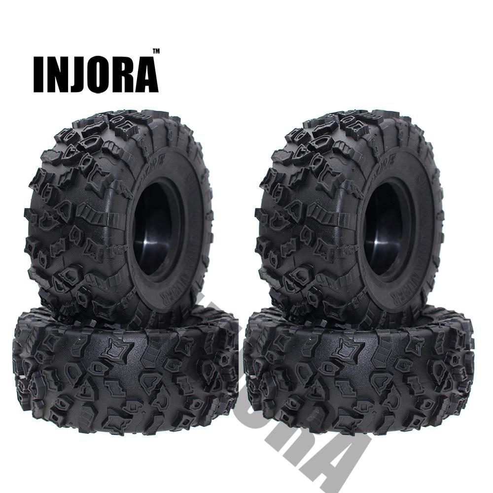 INJORA 4 قطعة 2.2 بوصة المطاط إطارات عجلة الإطارات ل 1/10 RC روك الزاحف SCX10 RR10 الشبح اليتي 90026 90020 90031 90045 90056