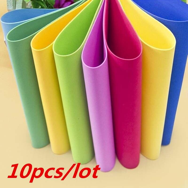 10 hojas gruesas Multicolor A4 esponja EVA espuma papel niños hecho a mano DIY manualidades tarjetas y tarjetas Stock