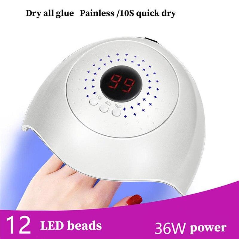 36W lámpara de uñas LED UV 12 USB LED de luz para manicura secador de uñas de Gel de uñas esmalte Lámpara USB con Cable USB