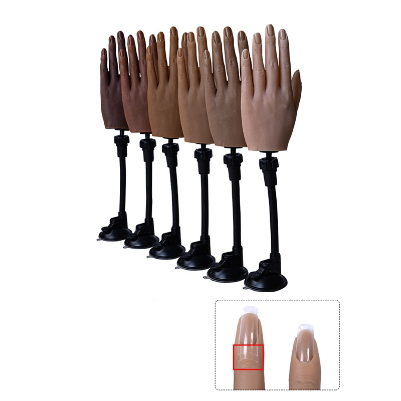 Prática de Silicone Modelo de Mão Manequim com Suporte e Ajuste de Dedo Modelo de Arte do Prego Adulto Flexível Exibição Prática Mão