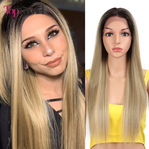 TOPMODEL Synthetic Lace Front Wig 4X4 Lace Wig Long Straight Wig Ombre Blonde Wig Lace Wigs For Black Women Cosplay Wig