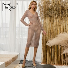 Missord 2020 femmes col en V profond évider robe Sexy dos nu voir à travers robe de soirée femme évider robe moulante FT18463-1