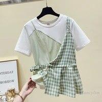 plaid stitching white tshirt women summer tops round neck short sleeve casual all match t shirt loose tees nancylim