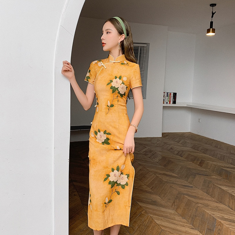 Yellow Cheongsam 2021 New Retro Chinese Style Summer Young Girl Improved Version Dress Mid-length Chinese Traditional Dress 2020 new summer new style cheongsam section temperament young section student girls cheongsam improved version of thin dress
