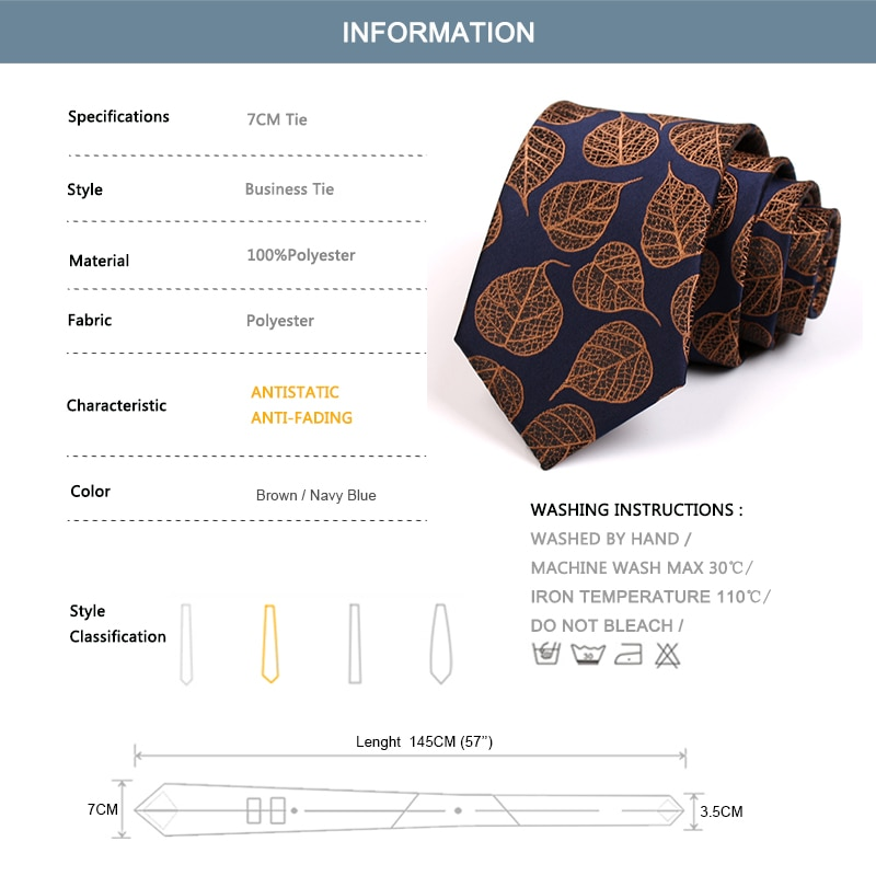 2020 New 7CM Leaf Print Ties Gentleman Business Ties High Quality Fashion Formal Tie For Men Business Suit Work Necktie Gift Box