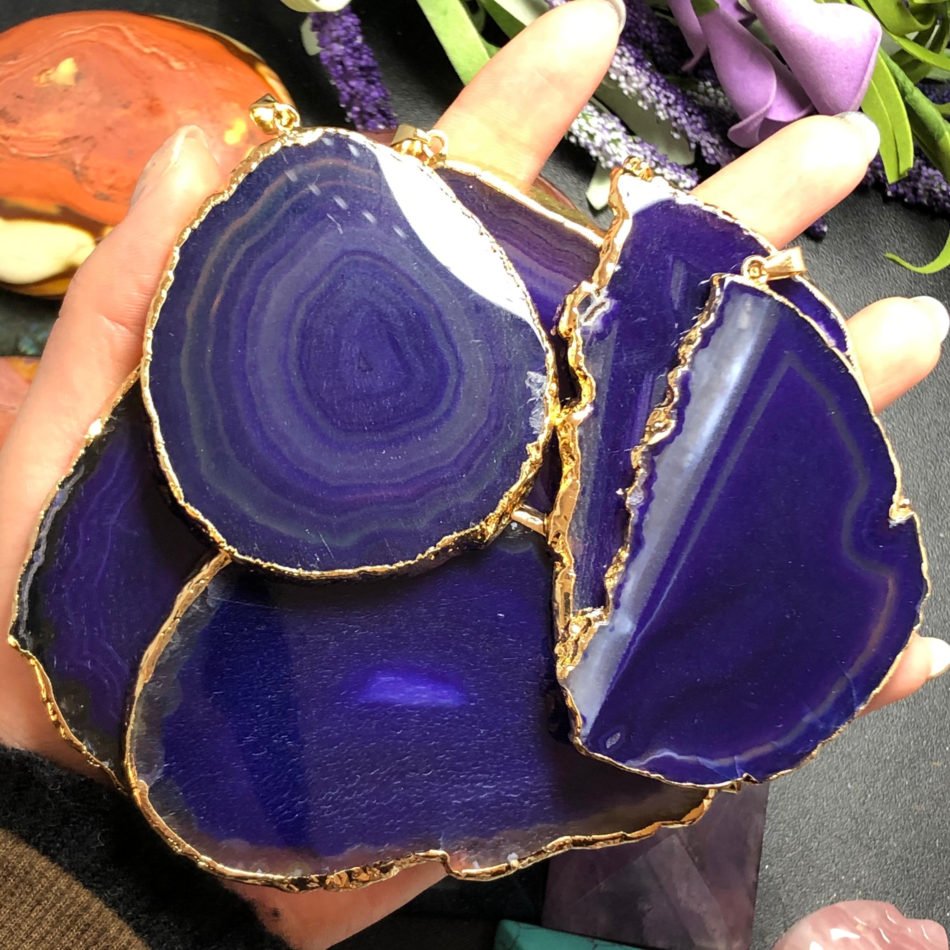 COLLAR COLGANTE de ágata púrpura Natural, cura de la manera de la meditación