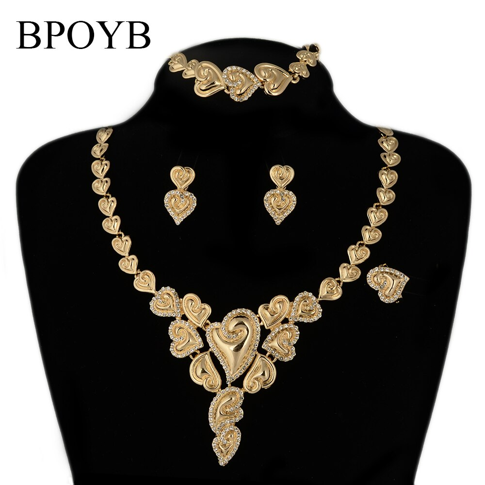 BPOYB 2021 رائجة البيع الفاخرة الكبيرة البرازيلي طقم مجوهرات لون الذهب موضة كريستال الحب القلب دبي المجوهرات الأفريقية بالجملة