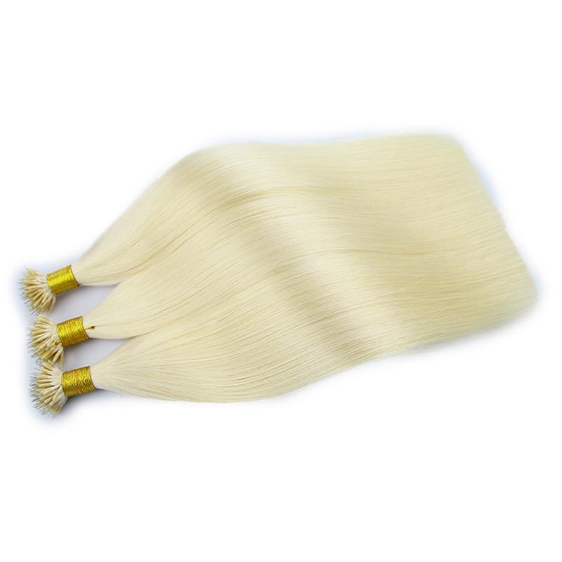 100% Human Hair Nano Ring Hair Extensions Virgin Pre-bonded Straight Nano Tip Indian Hair Blonde Color 60