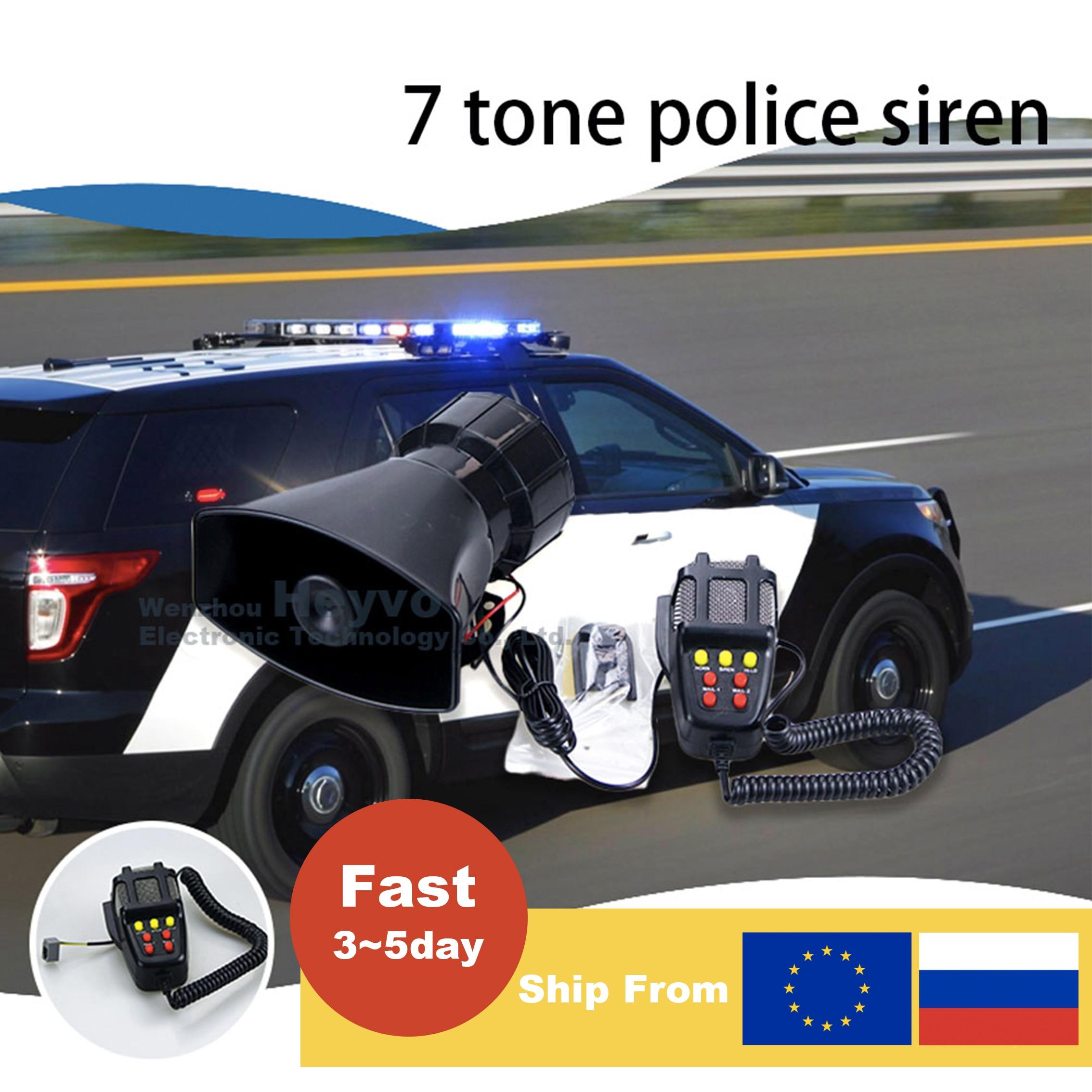 12V Polic Siren Emergency Fire Car Horn 7-Sound Loud Car Warning Alarm With Mic PA  Speaker System Amplifier Hooter Megaphone 1set tone sound car emergency siren horn emergency amplifier hooter 12v 100w