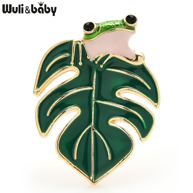 AliExpress - Wuli&baby Enamel Frog Brooches For Women 2-color Leaf Animal Party Causal Brooch Pins New Year Gifts
