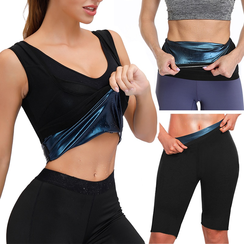 Body Shaper Set Sweat Sauna Vest Thermo Slimming Pants Fitness Belt Tummy Control Waist Trainer Shap