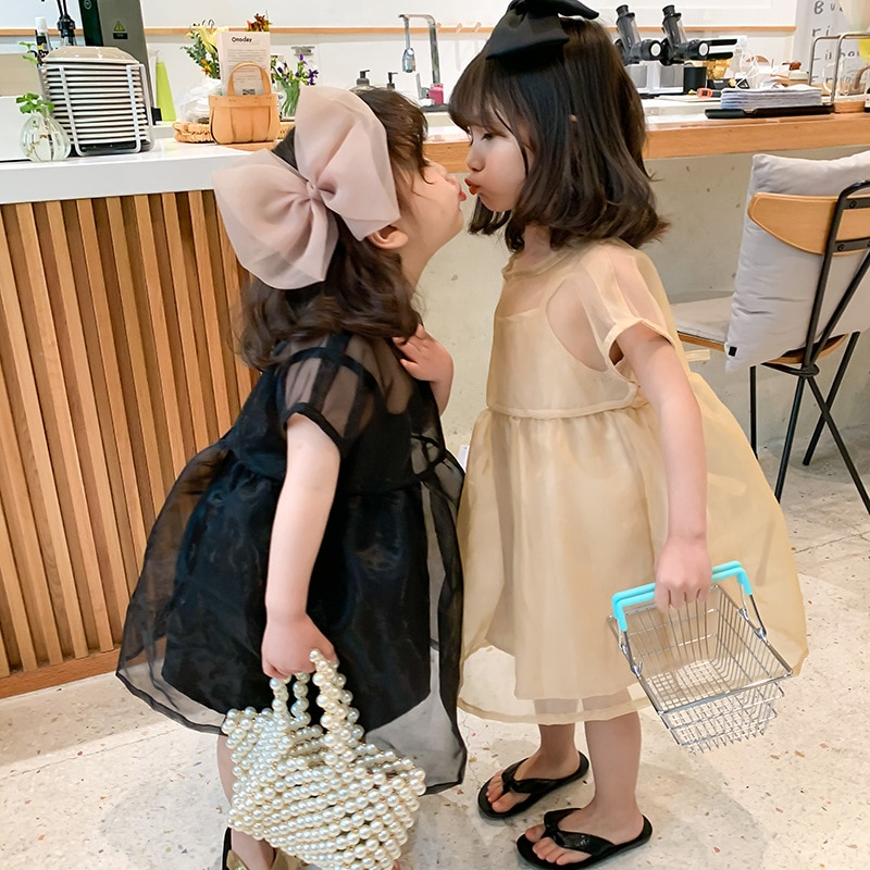 ¡Novedad! Traje de dos piezas de malla de lazo coreano para niñas, vestidos de princesa, ropa infantil, vestidos de verano de Color puro para niñas.