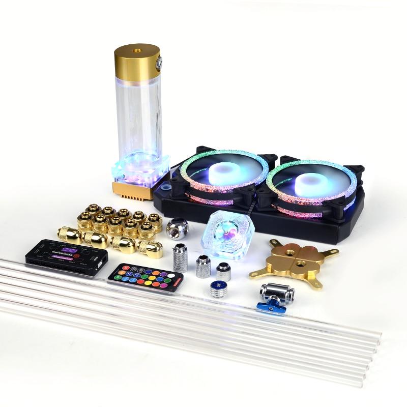 عدة تبريد مياه من الكمبيوتر PETG نظام تبريد سائل أنبوب صلب مع أضواء RGB 5 فولت لون ذهبي فضي اللون لوحدة المعالجة المركزية Intel 115x2011