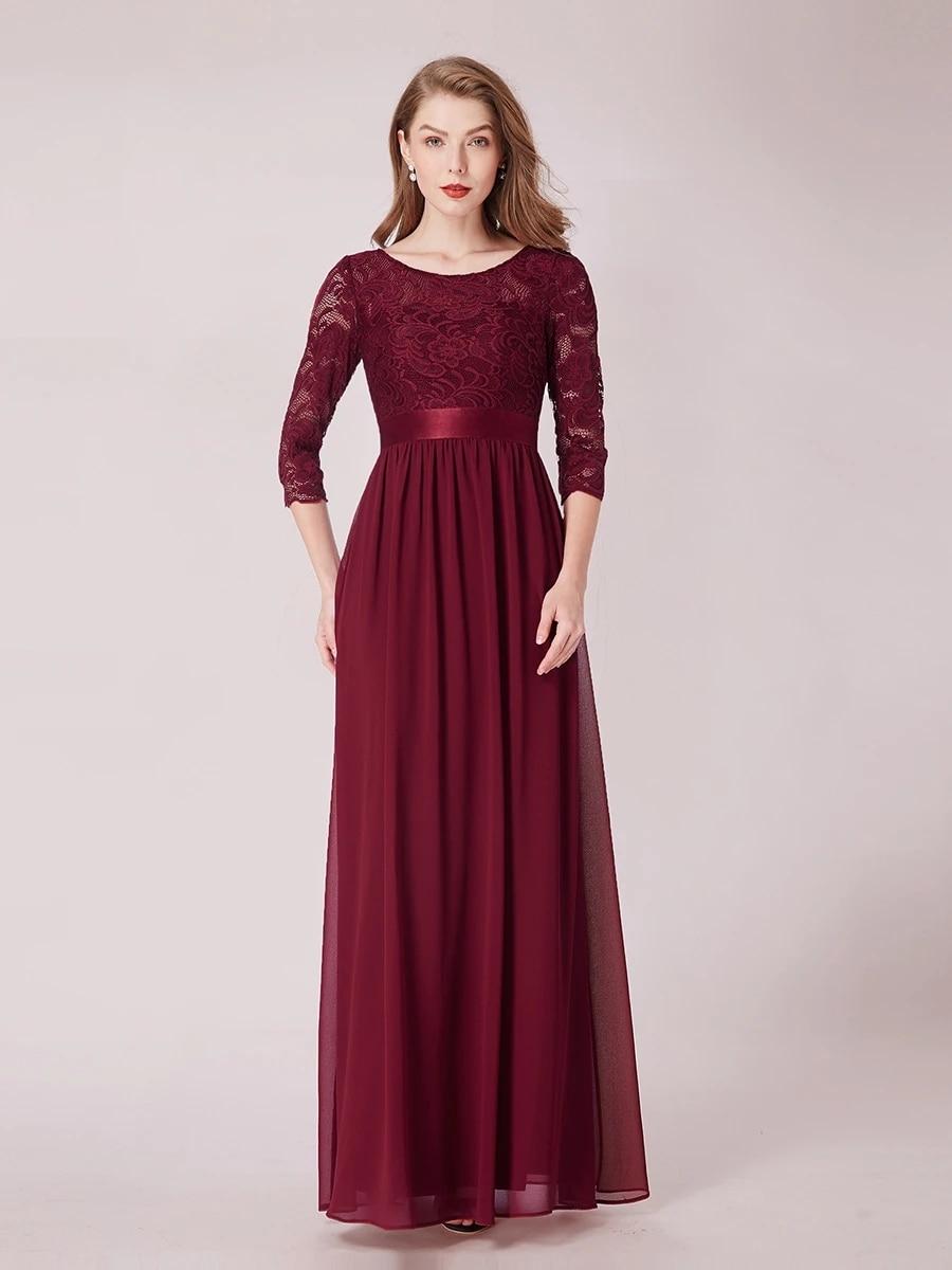 Elegant Empire Waist Wholesale Bridesmaid Dresses with Long Lace Sleeve