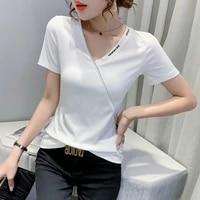 fashion v neck zipper t shirt womens short sleeve design sense niche summer new personalized top show thin waist small shirt