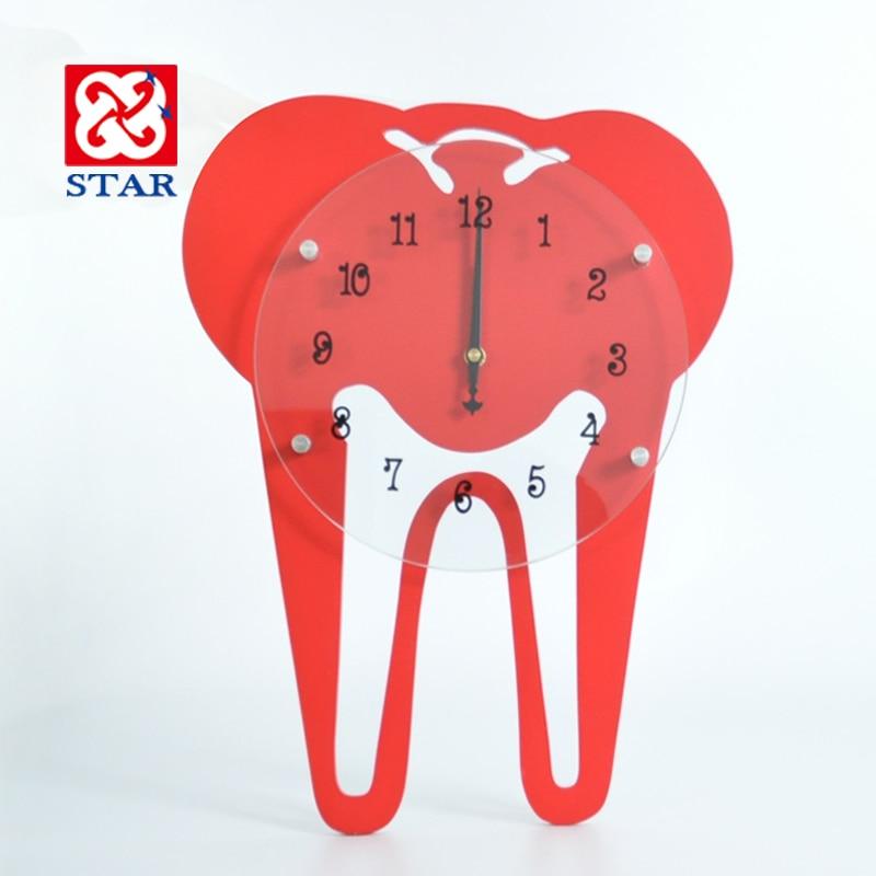 歯科医院壁時計木オフィス壁の装飾口腔病院黄色歯時計壁時計文化duvar saatleri SC594