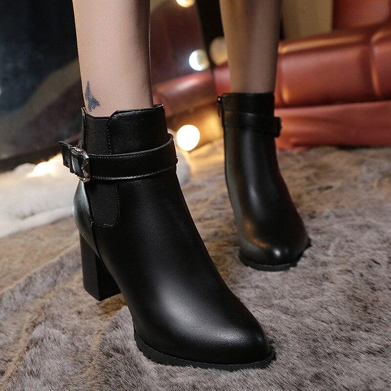 Botines de tacón alto de gamuza de invierno para mujer, zapatos de cuero negro tipo gladiador de punta estrecha a la moda para mujer de talla grande 42