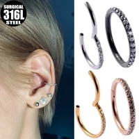 316l surgical steel hinged segment hoop cz stone nose ring clicker ear cartilage tragus helix lip earring piercing body jewelry