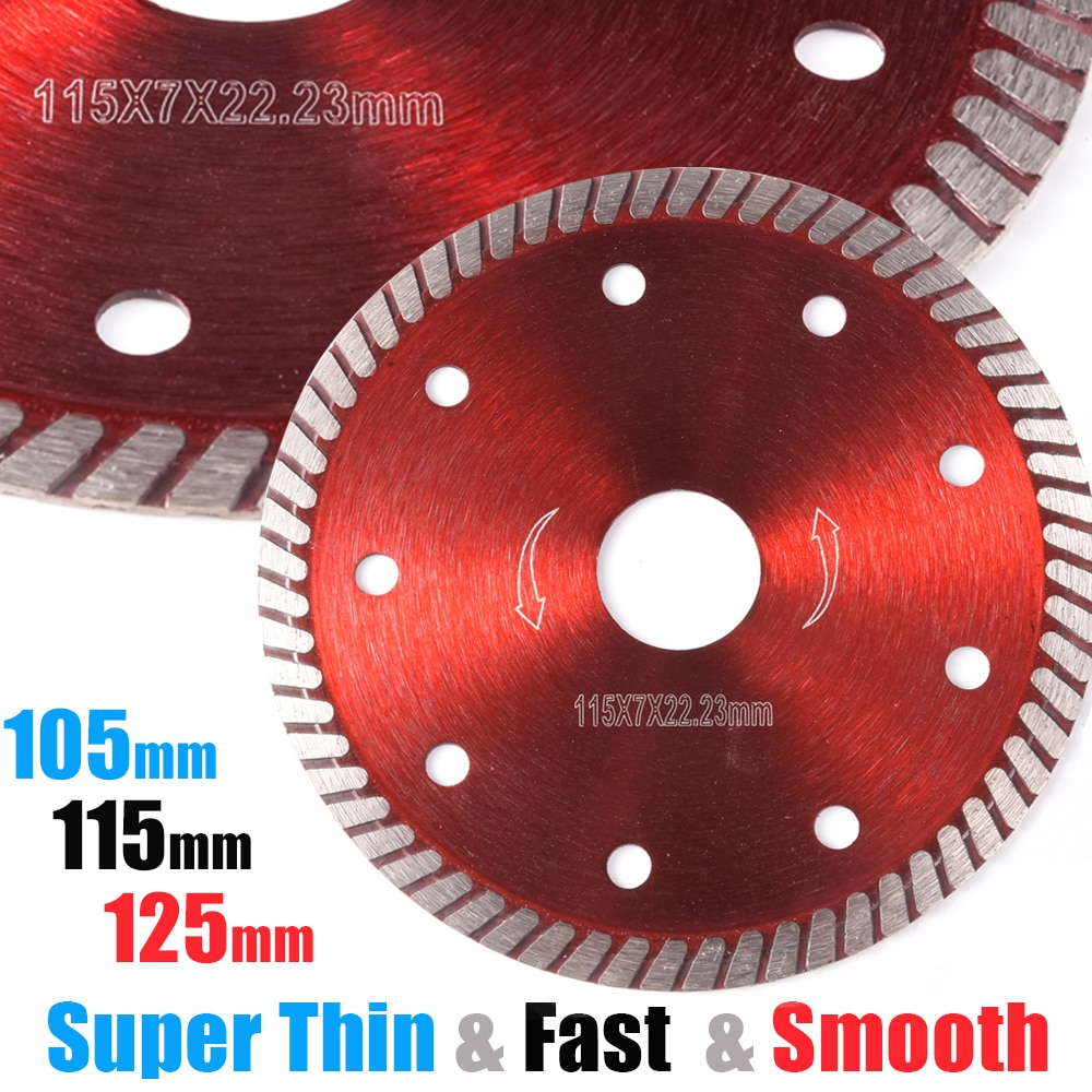 Disco de cuchilla amoladora angular de diamante de rueda fina, mampostería 105/115/125mm, ladrillo Turbo, cerámica, corte de azulejo de porcelana