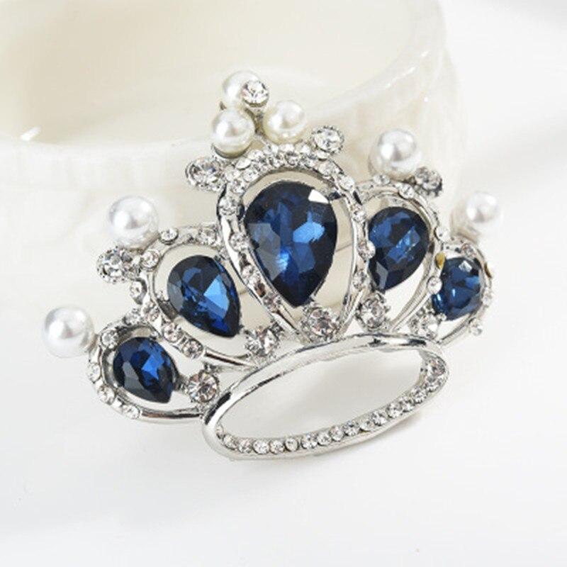 prendedores de mujer vintage Broches de broche de corona para mujer broches de cristal azul y alfileres para mujer broches de diseñador de marca para mujer