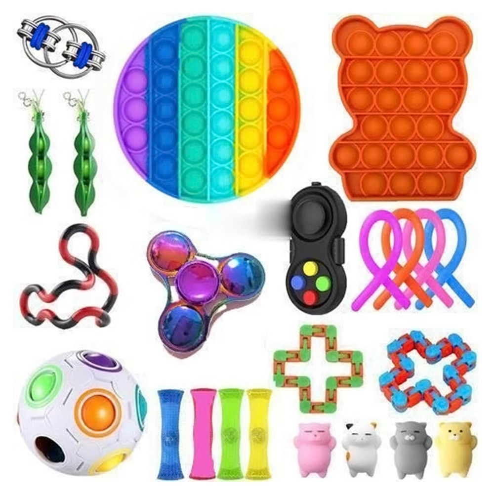 NEW Fidget Sensory Toy Set Stress Relief Toys Autism Anxiety Relief Stress Pop Bubble Fidget Toy For Kids Adults Party Favors enlarge