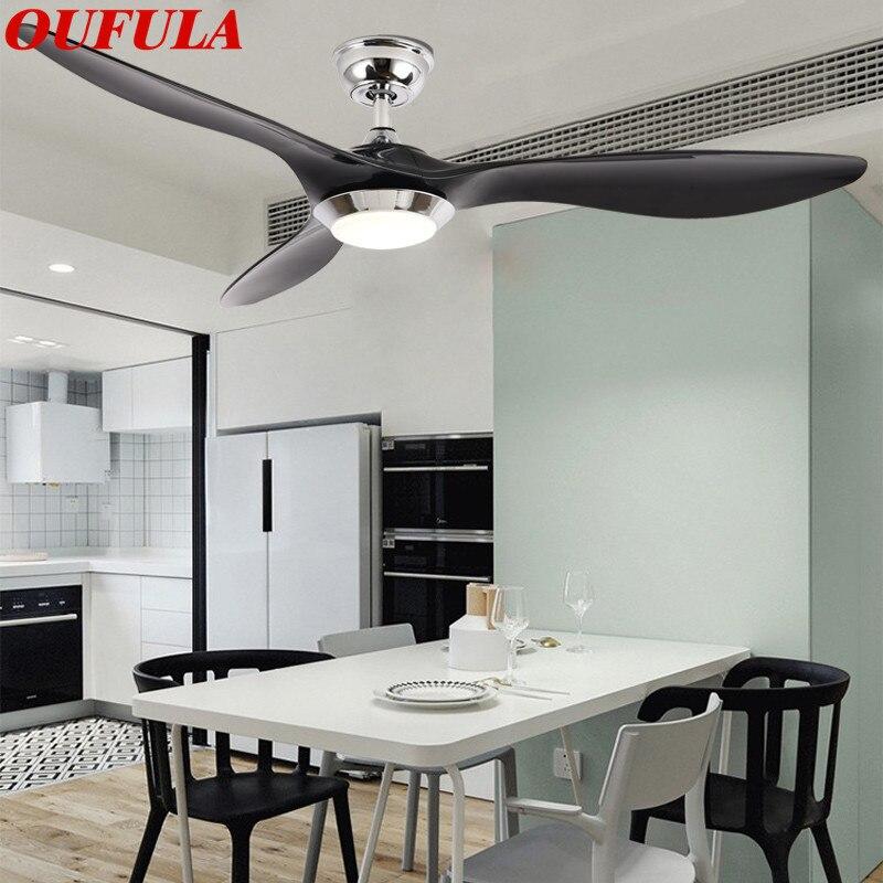 OUFULA الحديثة مروحة سقف أضواء مصابيح التحكم عن بعد المعاصرة المألوف ديكور لغرفة الطعام غرفة نوم