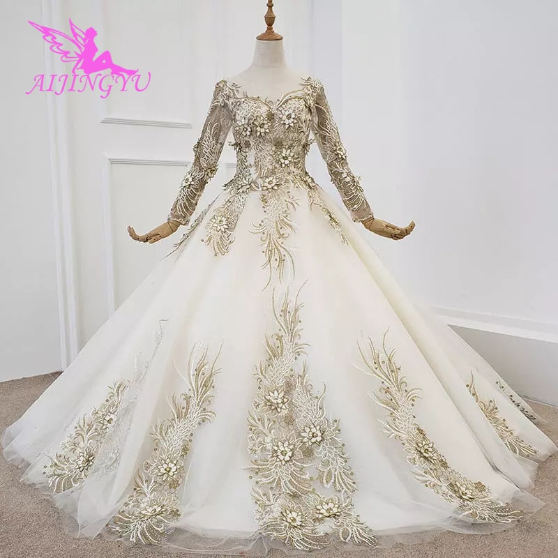 AIJINGYU-فستان زفاف بأكمام طويلة ، فستان متلألئ ، فريد ، بأسعار معقولة ، الإمارات العربية المتحدة