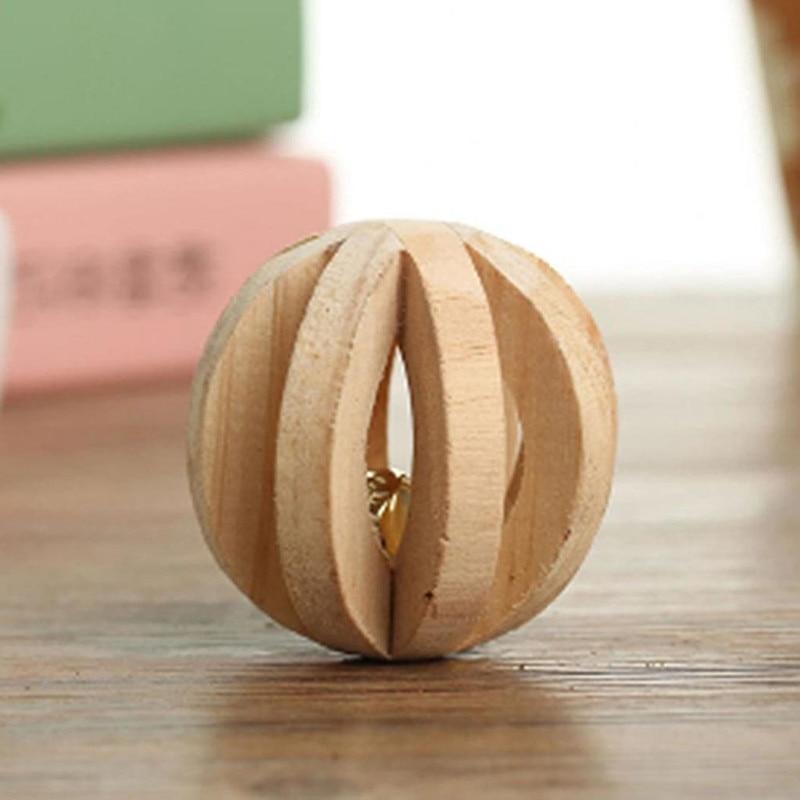 Slatke prirodne drvene igračke borove bučice valjak za zvonce za - Kućni ljubimci - Foto 6