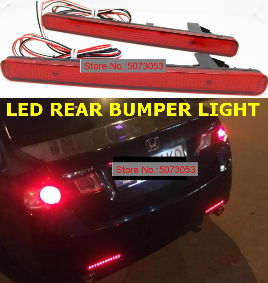 1 par Reflector de parachoques trasero LED luz trasera freno luz antiniebla trasera para Acura TSX Sedan 09-14 Honda Accord MK VIII 08-15