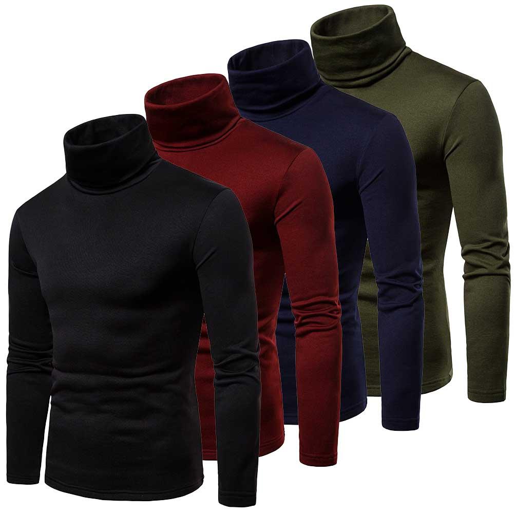New Men's Winter Warm Cotton High Neck Pullover Jumper Sweater Tops Mens Turtleneck Fashion