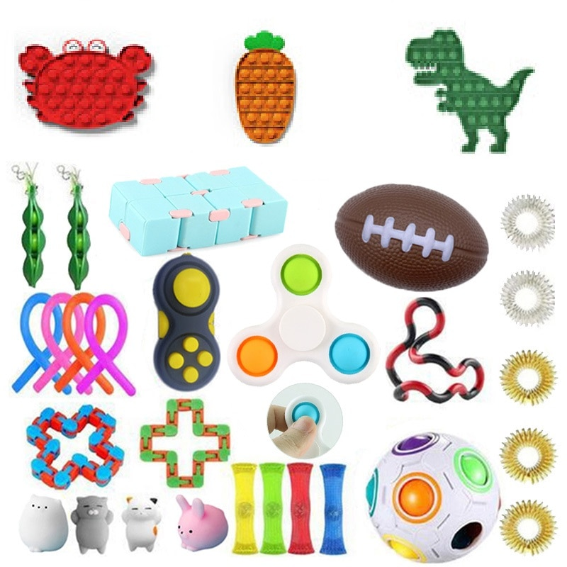 Fidget Toys Children's Decompression Sensory Educational Squeeze Bubble Cartoon Fun Board Game Fidget Toys Set enlarge