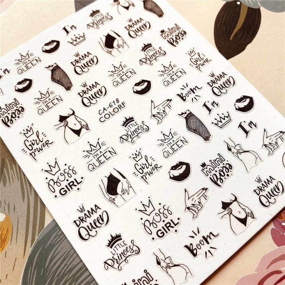 English Words, Alphabet, Letter, Series 3D Back glue Nail decal Nail sticker Nail decoration Nail art Nail tool Nail ornament