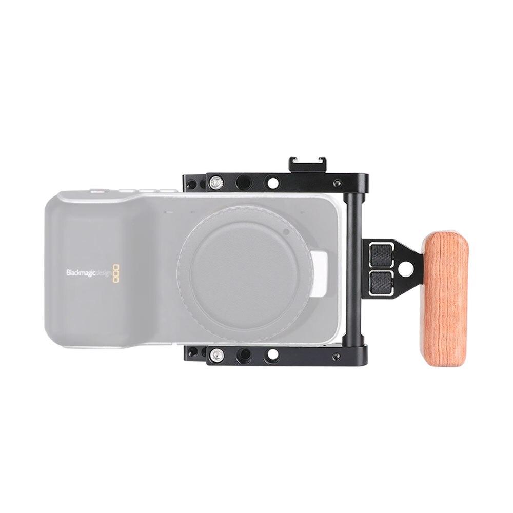 CAMVATE Camera Half Frame Cage Rig With Wooden Left-Side Handle Grip & Hot Shoe Mount Perfect For Blackmagic Pocket 4K Cameras enlarge