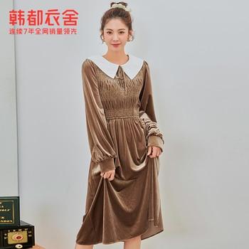 Handu Clothing House 2020 Autumn and Winter New French Style Retro Peter Pan Collar Small Velvet Dress Female Om82206
