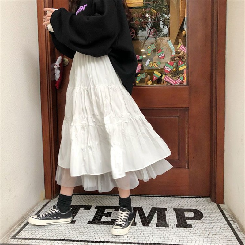 Long Tulle Midi Skirts Womens 2020 Autumn Elastic High Waist Mesh Tutu Pleated Skirts Female Black White Long Skirt Streetwear