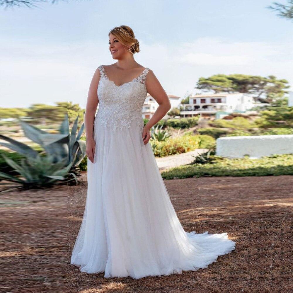 Vestido De novia De gasa De talla grande, elegante, Sexy, con cuello De pico, sin mangas, Apliques De encaje, corte A, corsé, 2021