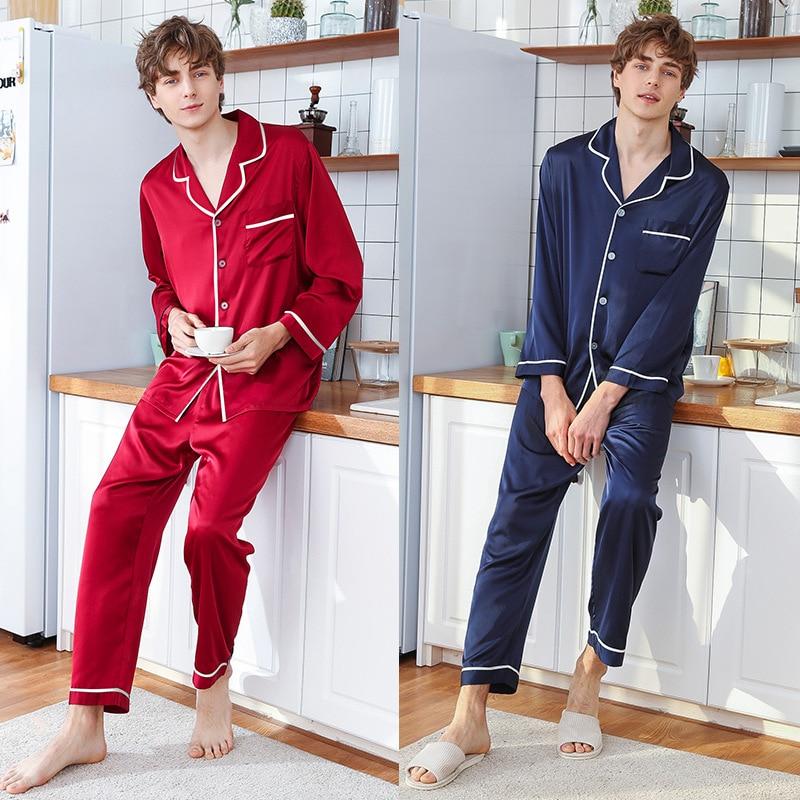Faxu Silk Explosion Pajamas Mens Spring and Summer Long-Sleeved Pants Tracksuit Set Pyjamas Men Sleepwear Pijama red blue