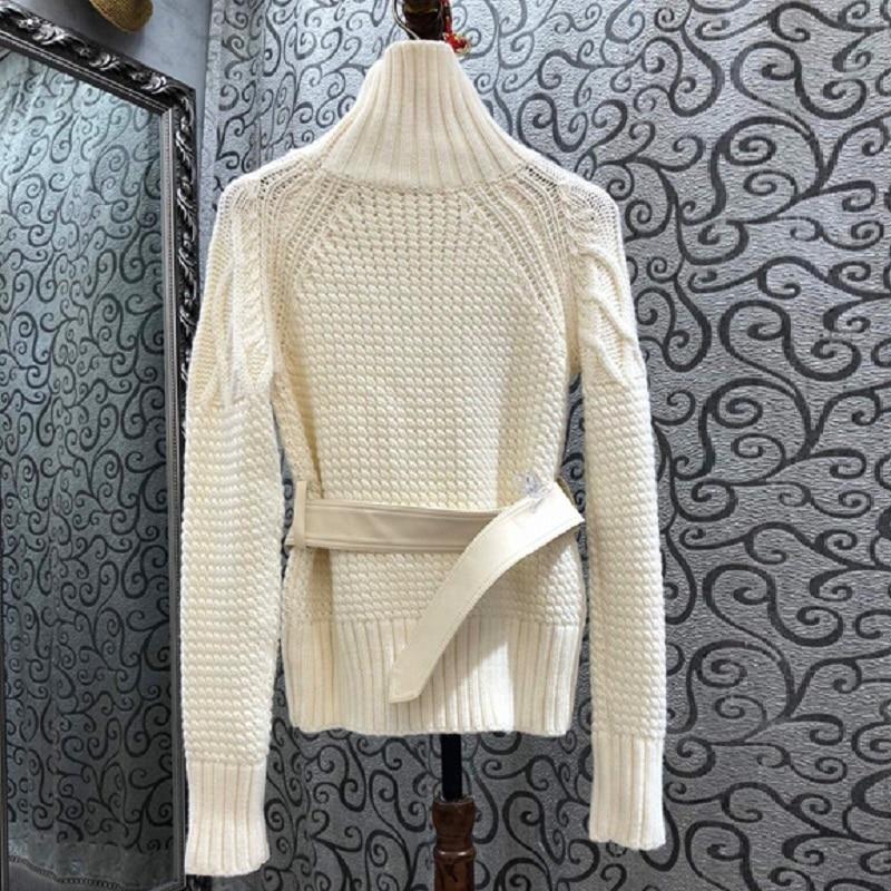 Turtleneck Sweaters 2020 Autumn Winter Warm Tops Women Twist Knitting Belt Patchwork Long Sleeve Casual Pullovers Ladies Jumper enlarge