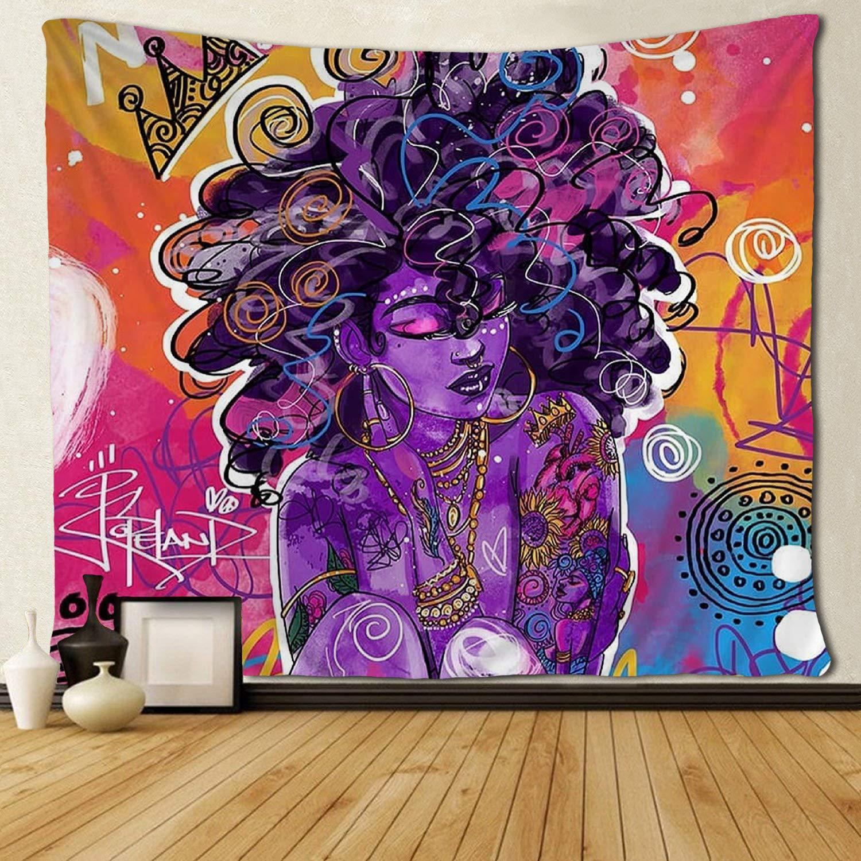 Arte Africano Americano mujer Afro reina tapices Hippie colgante de pared