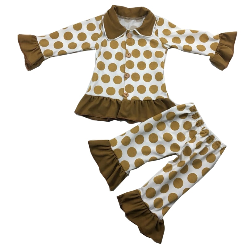Pijamas de punto marrón boutique para niños de material de algodón para niñas de manga larga con volantes pjm