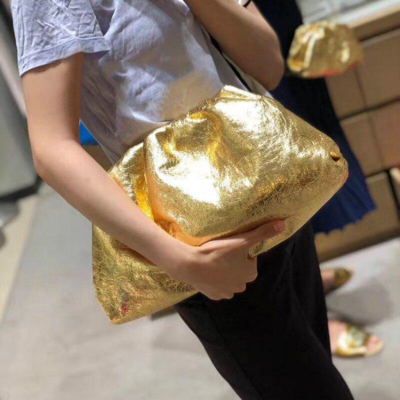 Moda ouro nuvem bolsa de couro genuíno macio ombro slant dumpling saco bolsa dia embraiagens sacos mensageiro saco crossbody gg